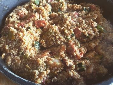 quinoa verduras chistorra
